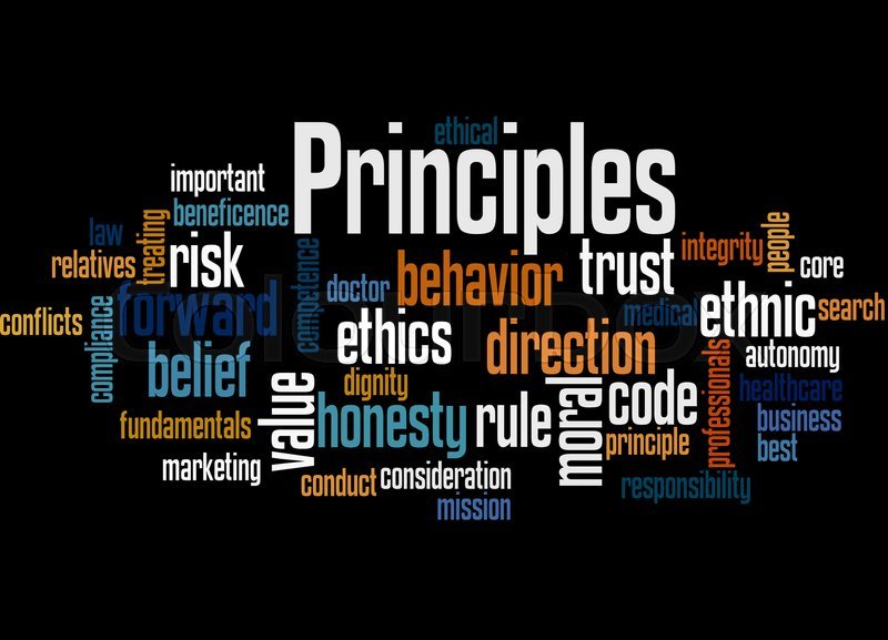 Principles, word cloud concept on black background Stock Photo - principles of photography