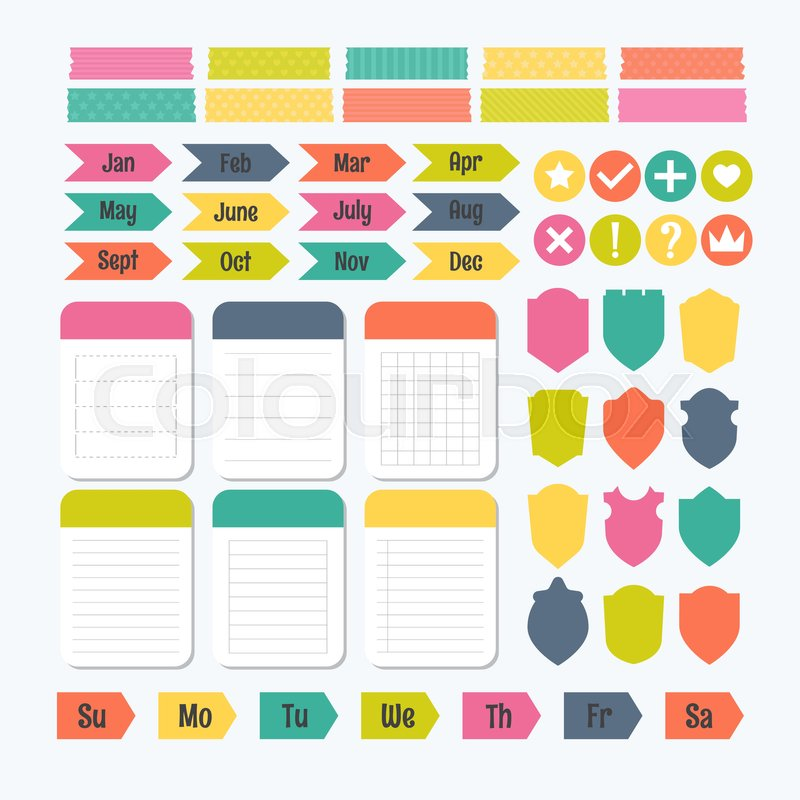 Collection of various note papers with different tape strips - notepad paper template