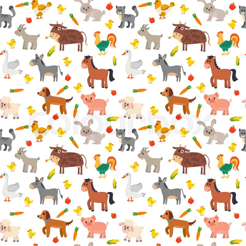 Cow Wallpaper Cute Seamless Pattern With Farm Animals Vegetables And Fruits
