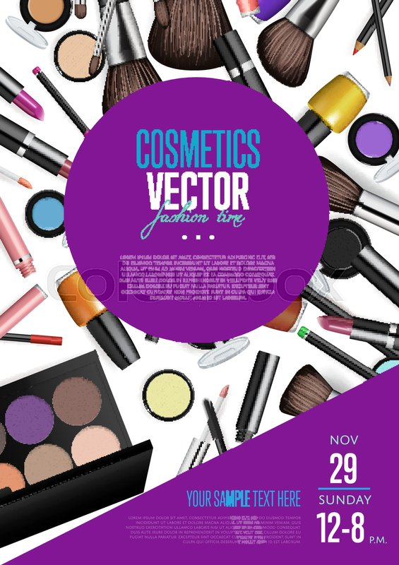 Cosmetics product presentation poster Makeup accessories set - promotion flyer
