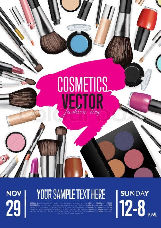 Cosmetics product presentation poster Makeup accessories set