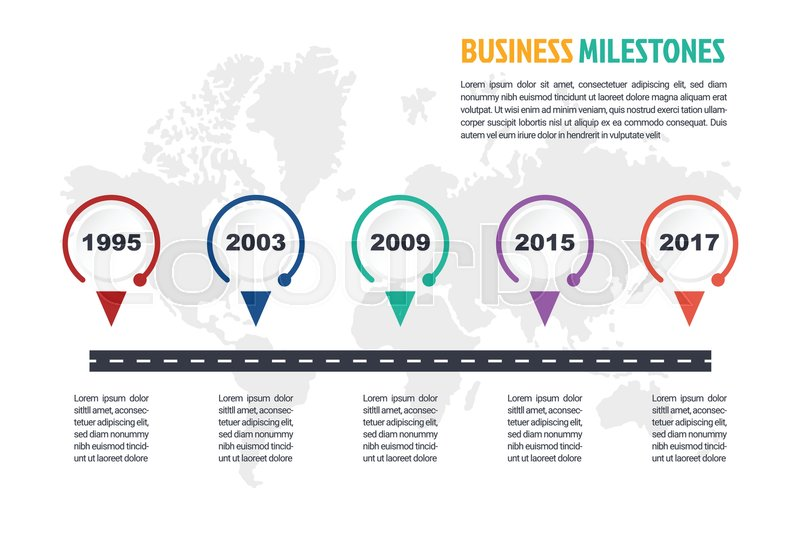 Business minimal infographic template, 5 steps business milestone
