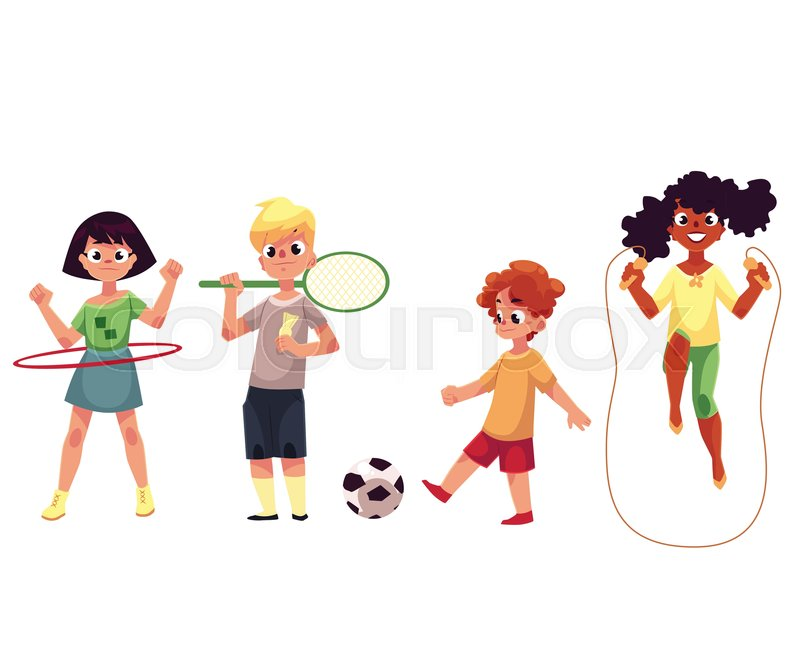 Kids twirling hula hoop, playing badminton and soccer, jumping over - cartoon children play