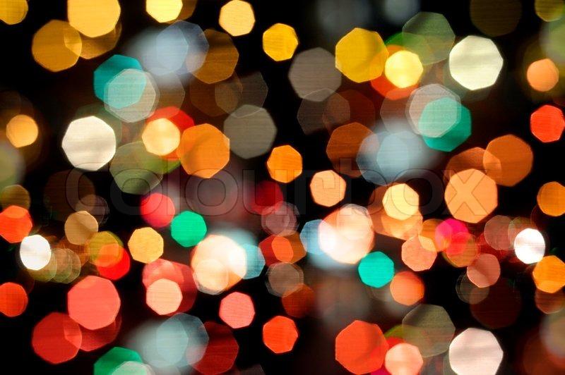 Photo of bokeh lights on black Stock Photo Colourbox