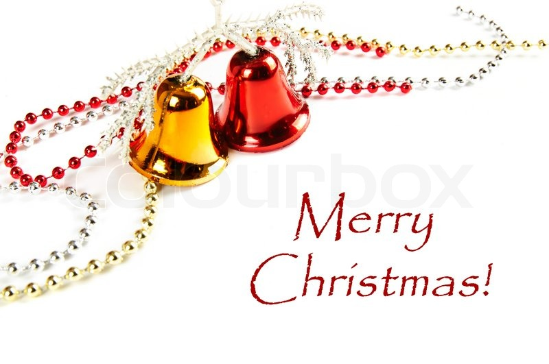 Christmas card with shiny ribbons, bells and sample text Stock