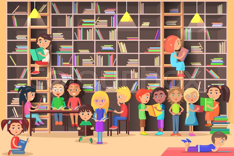 Children Read In The Library Vector Illustration Kids