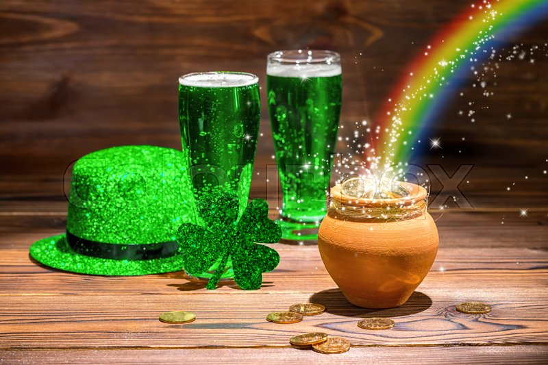 St Patricks Day Concept With Glasses Of Stock Photo