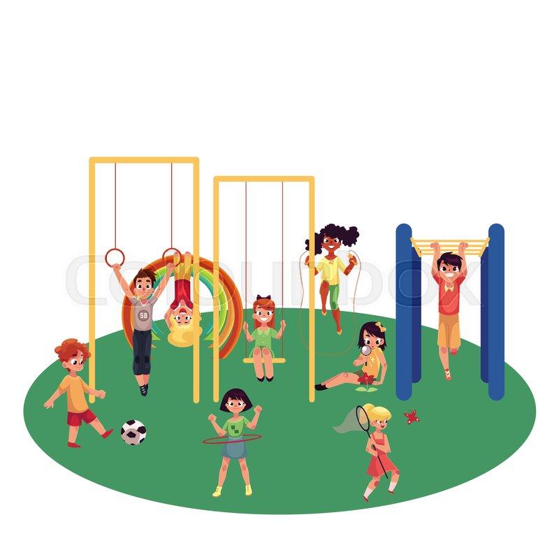 Kids, children playing at playground, monkey bars, swings, football - cartoon children play