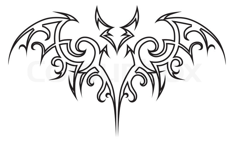 Vector Tattoo Bat Tribal Stock Vector Colourbox