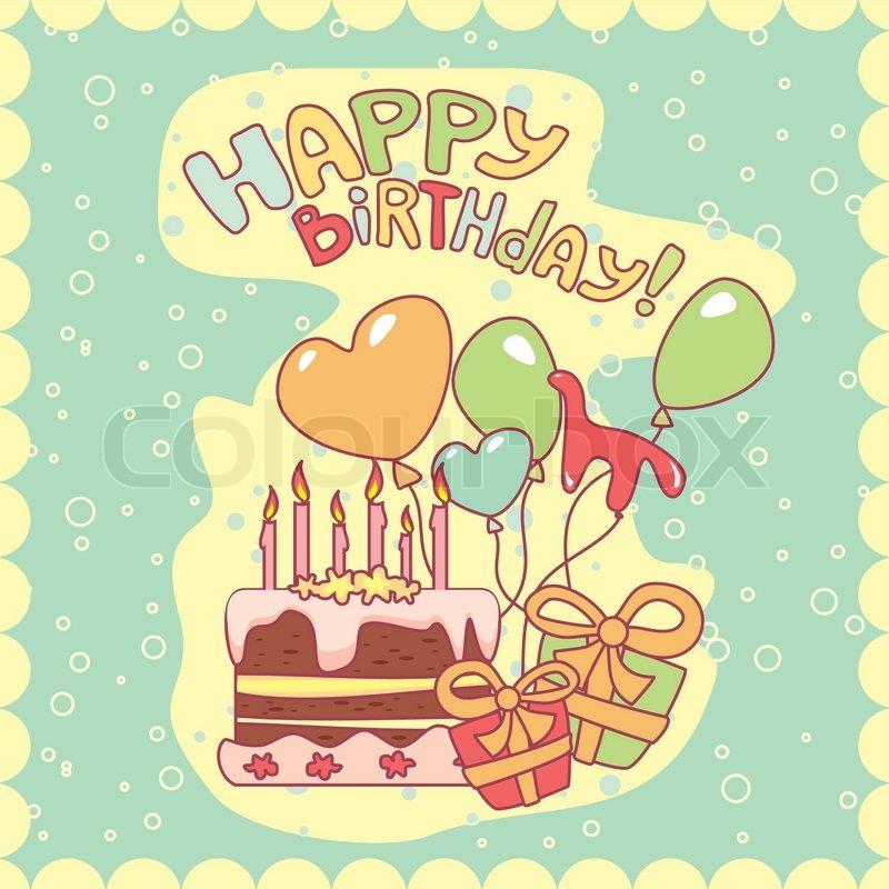Tillykke med fødselsdagen kort, vektor illustration stock vektor
