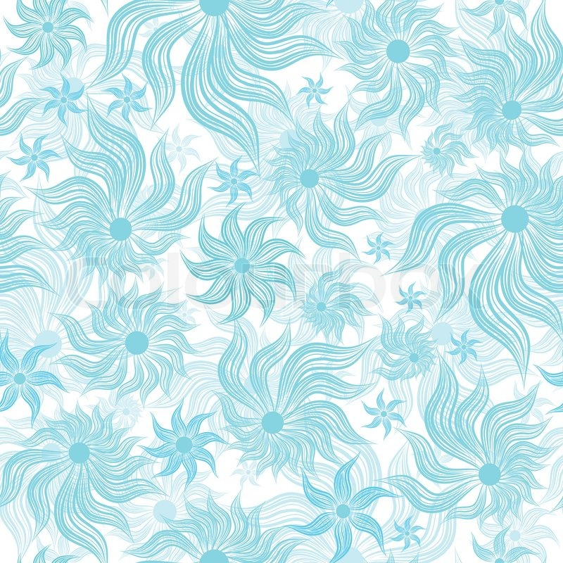 Abstract art blue vector flower seamless background pattern, floral - blue flower backgrounds