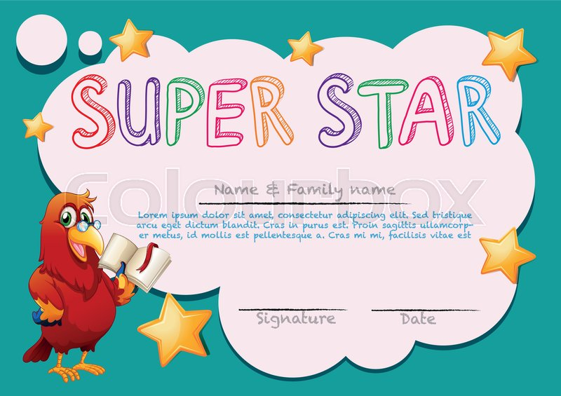 Certificate template for super star illustration Stock Vector
