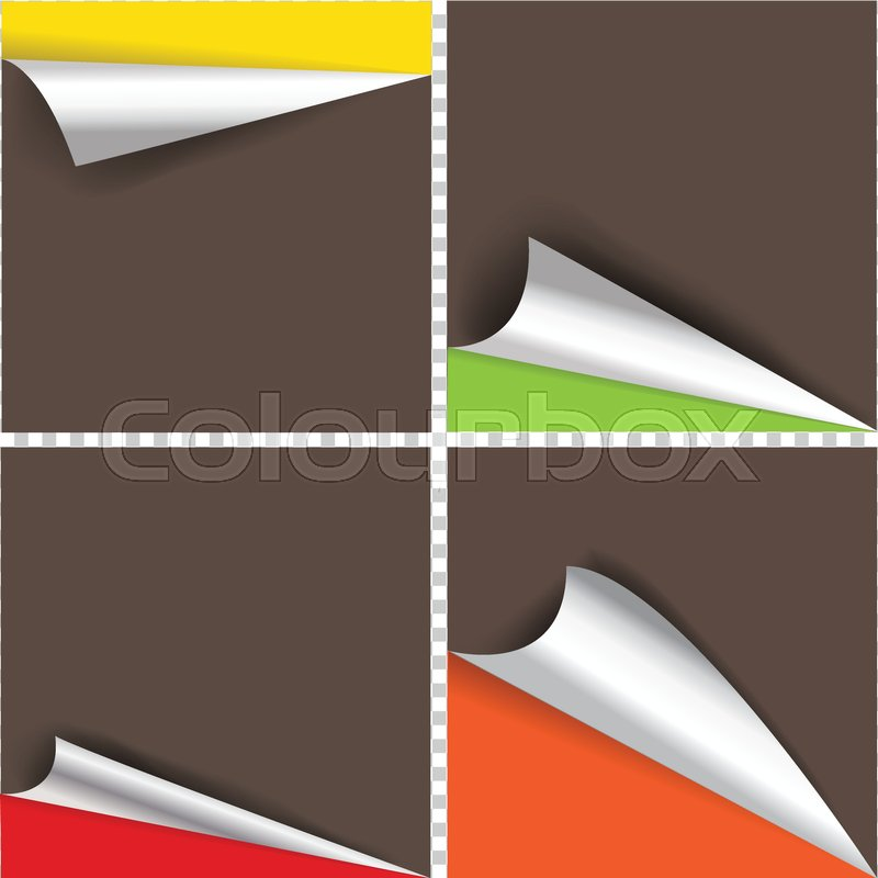 Collection Of Pages Curl Corner Vector Isolated Stock Vector