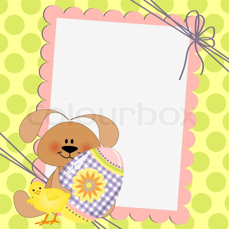Cute template for Easter greetings card Stock Vector Colourbox