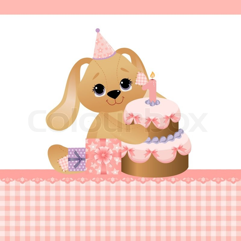 Cute template for baby birthday greetings card Stock Vector - birthday cake card template