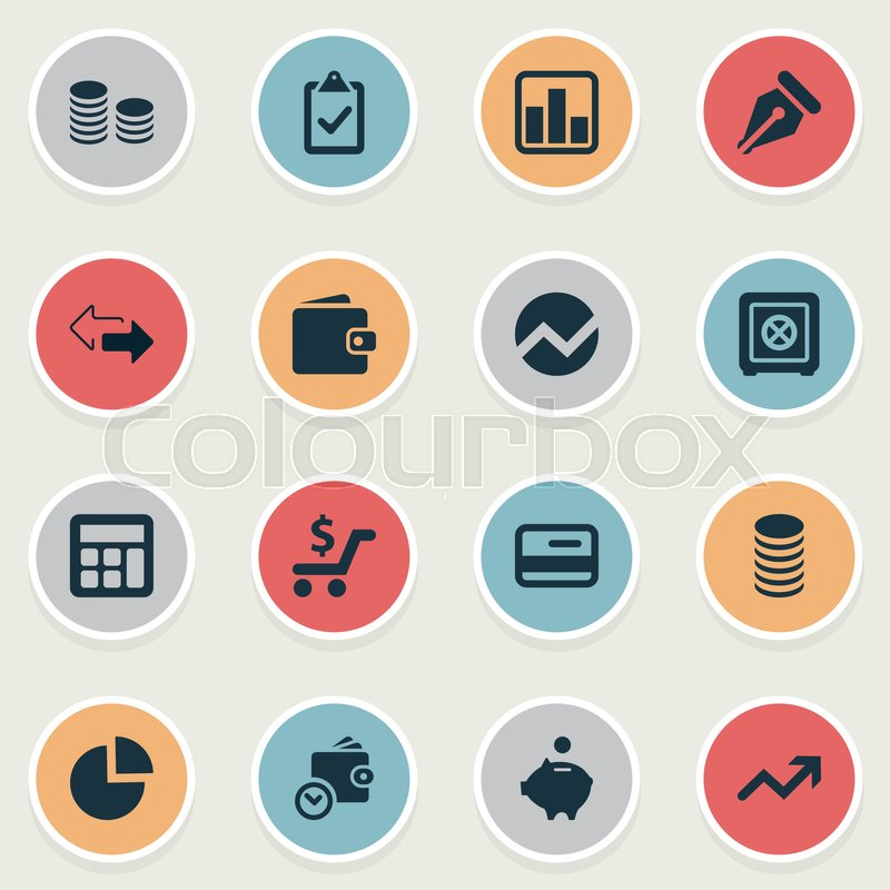 Vector Illustration Set Of Simple Investment Icons Elements - simple credit card calculator