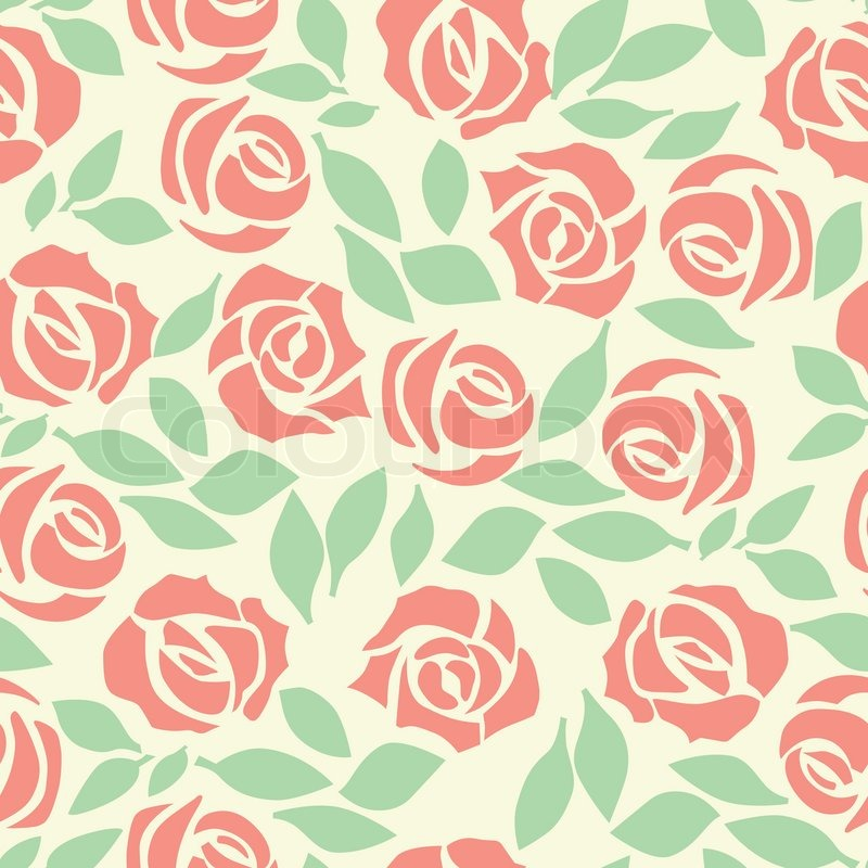Vector rose seamless flower background pattern, floral fabric