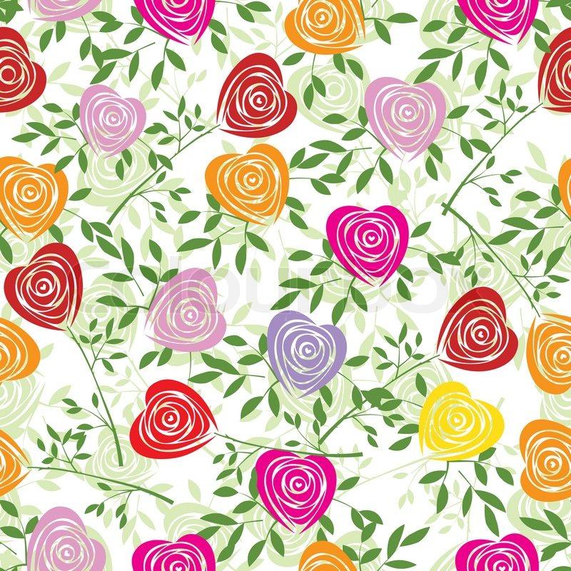 Multicoloured art vector heart, rose pattern Seamless flower