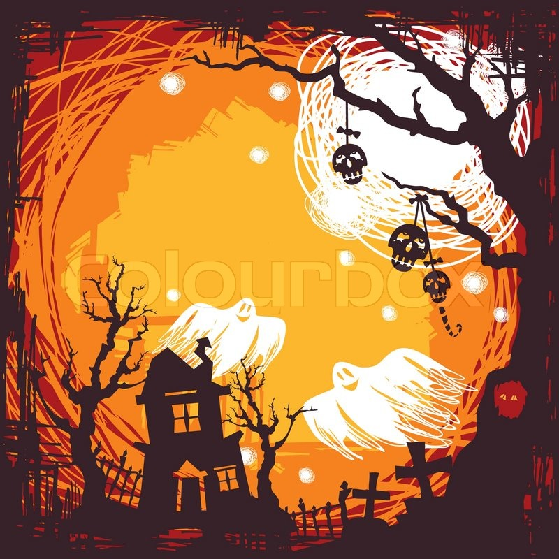 Fall Tree And Black Fence Wallpaper Abstract Cartoon Cute Halloween Background Vector