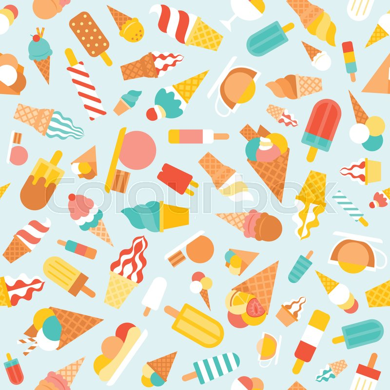 Seamless pattern ice cream, soft serve and popsicle for wrapping