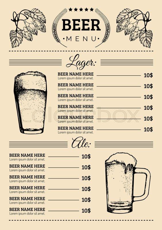 Beer menu design template Vector bar, Stock Vector Colourbox