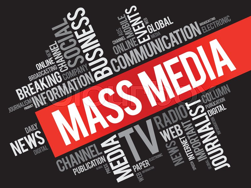 Mass Media Word Cloud Collage Technology Business Concept