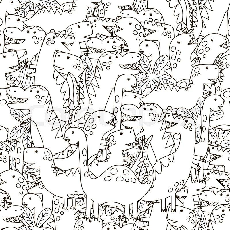Wallpaper Dino Cute Doodle Dinosaurs Seamless Pattern Stock Vector
