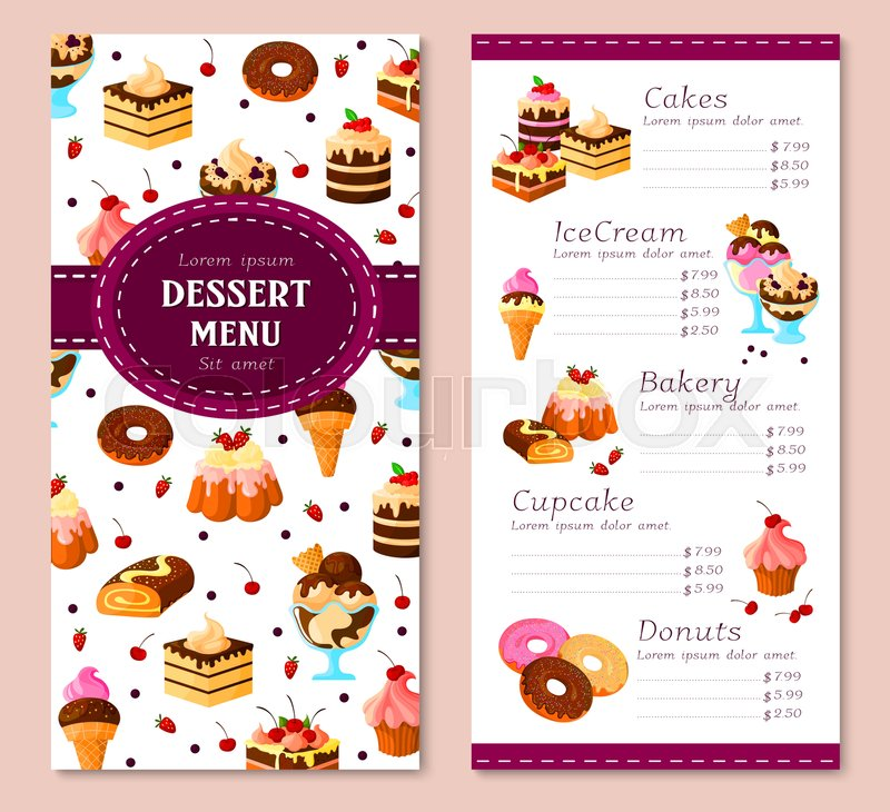 Bakery desserts vector menu template Price for pastry cakes, ice - dessert menu template