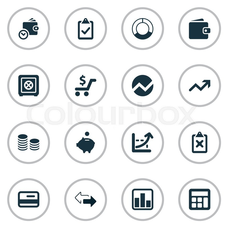 Vector Illustration Set Of Simple Investment Icons Elements Circle - simple credit card calculator