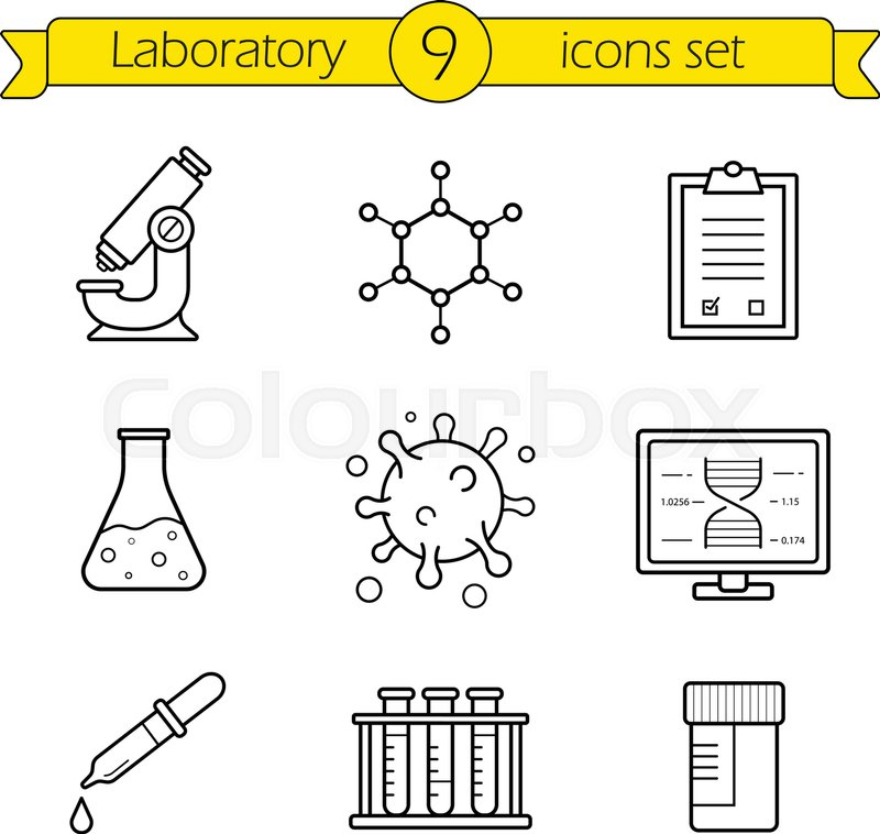 Laboratory tools linear icons set Thin line research lab equipment
