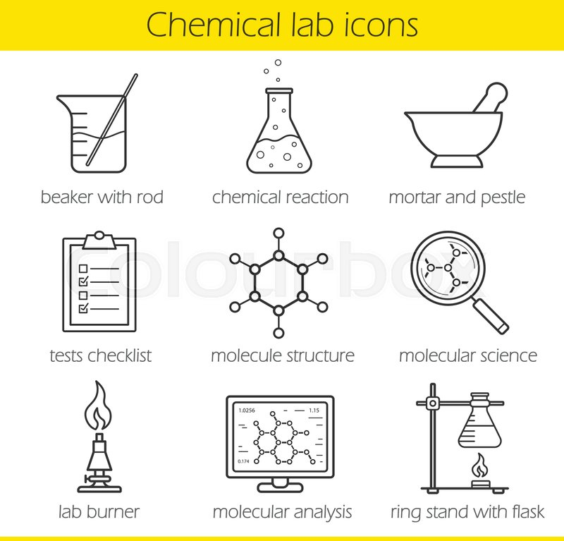 Chemical laboratory equipment linear icons set Beaker with rod