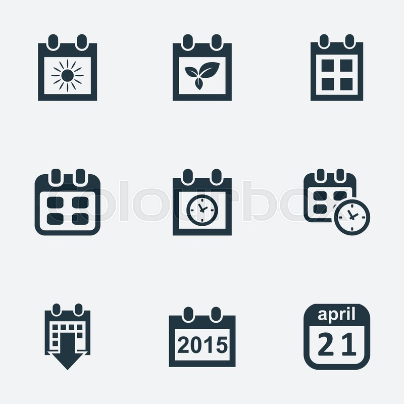 Vector Illustration Set Of Simple Date Icons Elements Planner