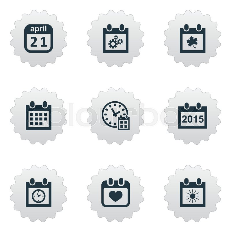 Vector Illustration Set Of Simple Date Icons Elements Summer