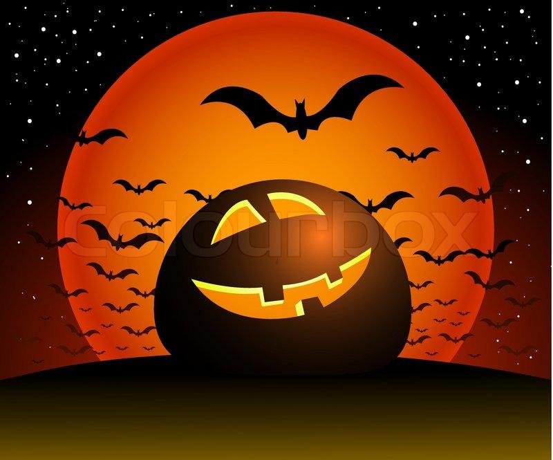 Fall Scenes Wallpaper With Pumpkins Halloween Illustration Scene Moon Stock Vector
