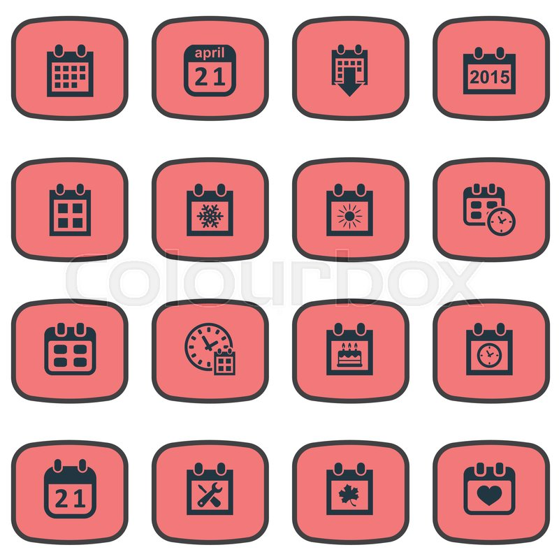Vector Illustration Set Of Simple Calendar Icons Elements Annual