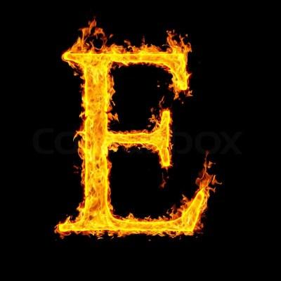 E ,fire letter   Stock Photo   Colourbox
