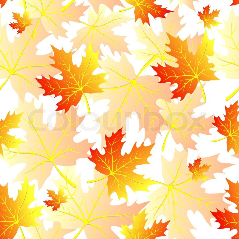 Paint Falling Wallpaper Autumn Leaves Seamless Pattern Stock Vector Colourbox