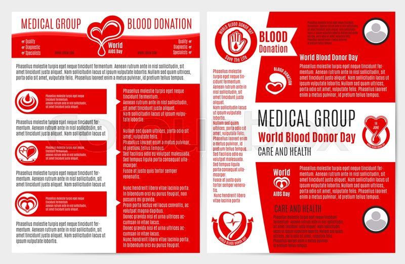 Blood donation medical brochure and poster template Healthcare