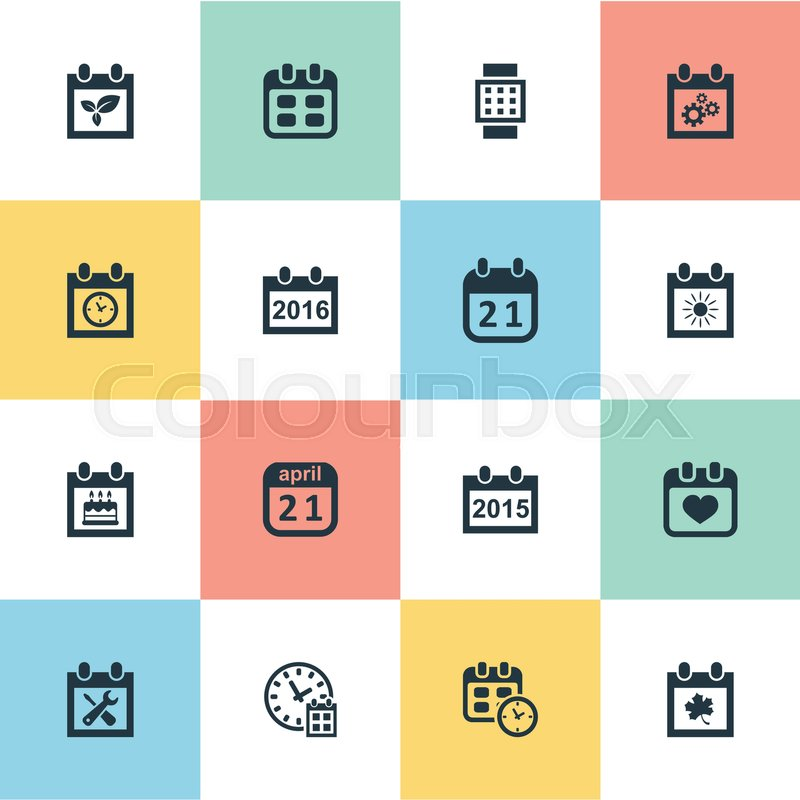 Vector Illustration Set Of Simple Date Icons Elements Agenda, Date