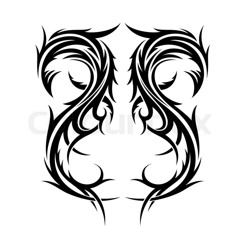 Abstract hand drawn tribal tattoo design template isolated on - tattoo template
