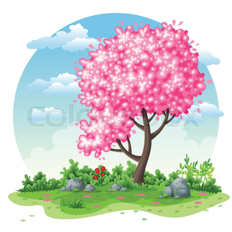 Spring nature cartoon background Stock Vector Colourbox