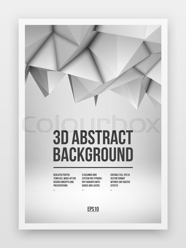 Poster template, mock-up with white abstract low-poly, polygonal - editable poster templates