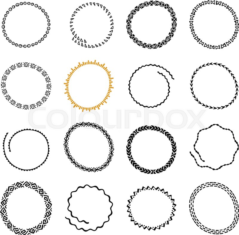 Hand drawn round logo frames set Collection of Ethnic Stylized