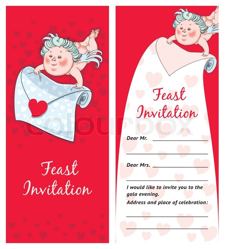 Cupid with a letter, Valentine`s day postcard, Invitation, template