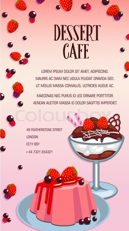 Dessert cafe, bakery and pastry shop cartoon poster Cake, ice cream - dessert menu template
