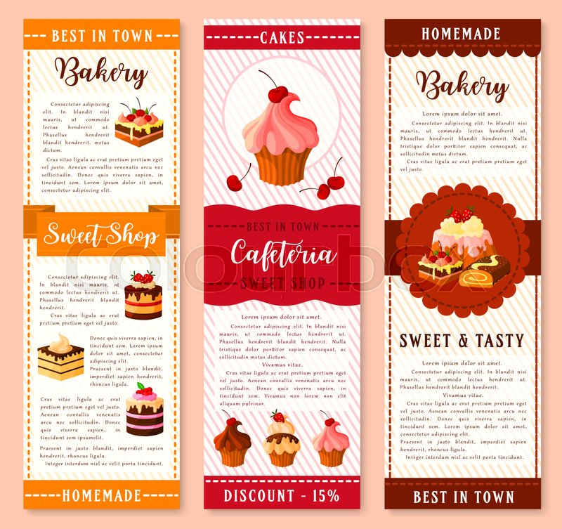 Cake, bakery and pastry dessert banner template Cake and cupcake with  cream, chocolate and fruit, muffin, berry pie, pudding, brownie, swiss roll
