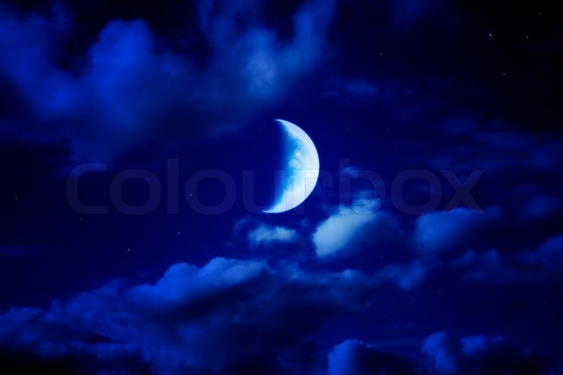 Purple And Blue Falling Stars Wallpaper Night Beautiful Blue Sky With Cumulus Clouds Moon And