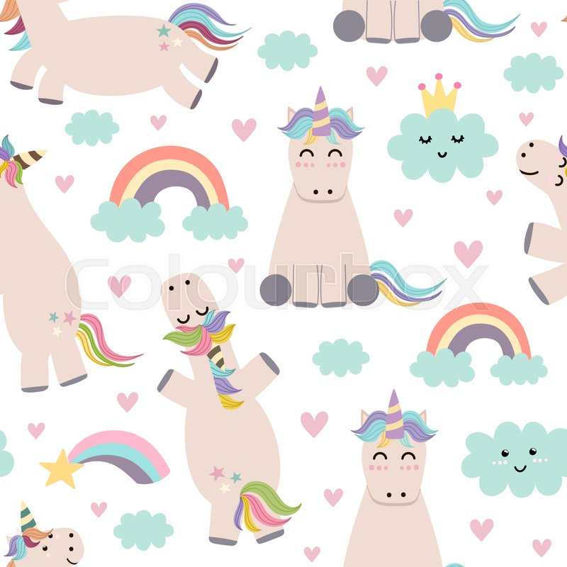 Adorable unicorn, rainbows and clouds seamless pattern Cute