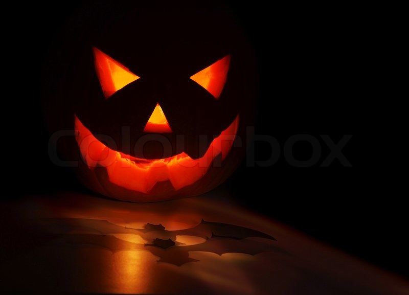 Creepy Fall Wallpaper Halloween Pumpkin And Bat Isolated On Black Background