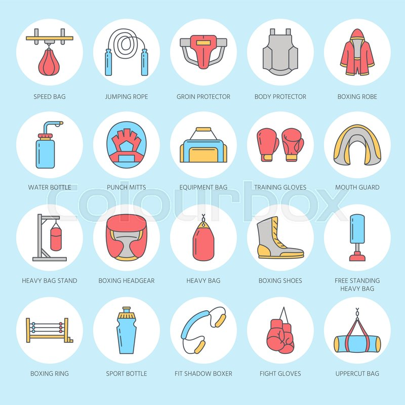 Boxing vector line icons Punchbag, boxer gloves, ring, heavy bags